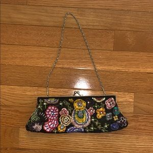 Embroidered and Beaded Black Mini Bag
